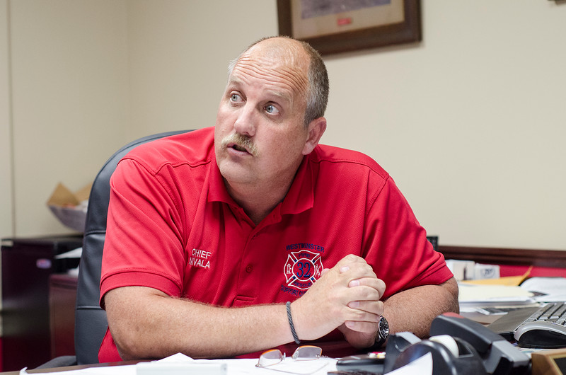 Members of the District 8 Techincal Rescue Team were dispatched to Crow Hill in Westminster to rescue a rock climber tangled in his rope on Thursday afternoon. Westminster Fire Chief Kevin Nivala talks about the newly-formed group in his office on Friday. SENTINEL & ENTERPRISE / Ashley Green