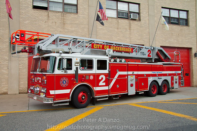 Hackensack NJ Ladder 2, 1990 Seagrave RA110, 110' rear mount aerial.