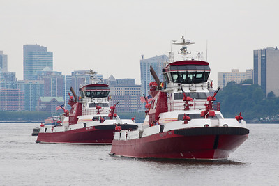 FDNY Marine 1, the Three Forty Three followed by Marine 9, the Firefighter II,  07-14-12