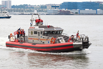 FDNY Marine 6, the Bravest,  07-14-12 The 65-foot, 80,000 pound vessel has a top speed of over 50 miles per hour, making it one of the fastest in FDNY Marine Operations.  The boat has a pumping capacity of over 7,000 gallons of water per minute, it carries 200 gallons of firefighting foam, and is equipped with a Purple-K dry chemical fire suppression system.  The Bravest has a forward looking infrared (FLIR) camera and the ability to protect firefighters from chemical, biological, radiological and nuclear agents.