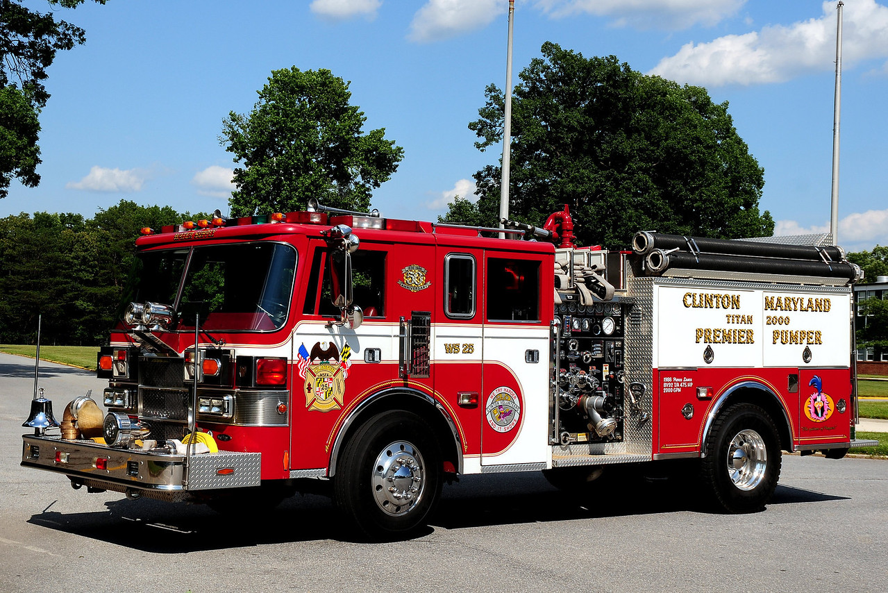 "Clinton Fire Dept    Water Supply  25   1986  Pierce Lance  2000/ 500  carries  2000 Ft  of  5"" LDH  this unit also  has  5  rear  discharges,  Adaptors for  Baltimore/Washington Metro Area's"