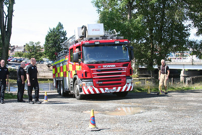 Strathclyde Fire and Rescue Scania P310 SF07OVS at Ayr in a turning circle test for the new University Campus which didn't go to plan.   No traffic cones were harmed in the making of this image.