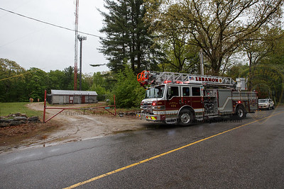 Ladder 106 responding to a fire alarm call at a cell tower site in town