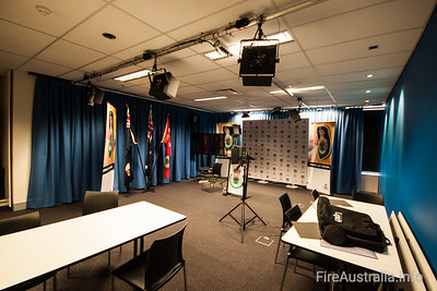 NSW RFS Media Briefing Room NSW RFS Main Media room - essentially a studio. There are also small rooms adjacent to the Ops room.