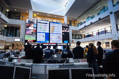 NSW RFS State Operations Major Incident centre, with the giant video wall showing.