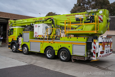 ACT Fire Brigade's 44 metre Bronto F44RLX-ERX Ladder Platform, or Scania P380 Cab Chassis. Bodywork by Varley Group