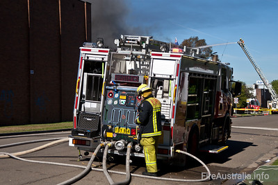 Pump 27 Parramatta at a Large Structure Fire in Silverwater