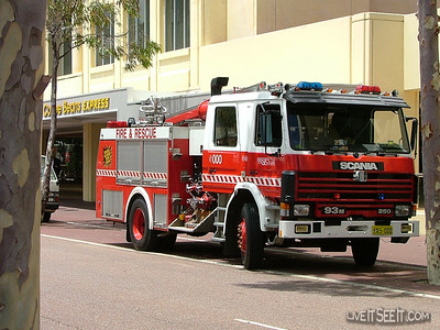 WA FRS Perth HP Perth's Heavy Pump at a drill in Northbridge