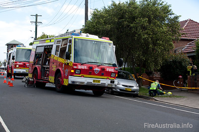 Pump 22 Leichhardt at a small residential Fire
