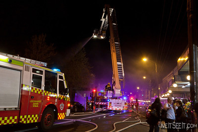 FRNSW Pump 22 Leichhardt and Ladder Platform 18 Glebe, at the Newtown Laundromat Fire
