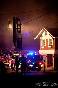 Ladder Platform 27 Parramatta at work on the Log Cabin Fire in Penrith