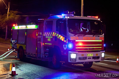 P445 Glenbrook at work on the Log Cabin Motel fire in Penrith