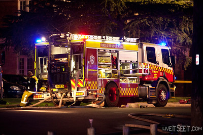 HP77 St Marys at work on the Log Cabin Motel fire in Penrith