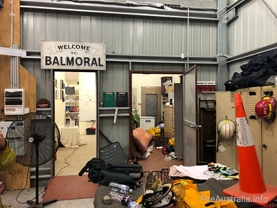 Evacuees inside Balmoral Fire station