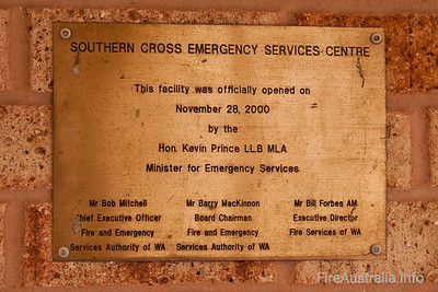 Southern Cross Fire Service Plaque for the opening of the new centre.  Photo December 2010