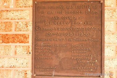 Southern Cross Fire Service Plaque for the opening of the original WAFB building.  Photo December 2010