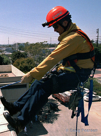 Ready. Set. Go.  LA County Fire Department USAR rappelling demo at Fire Service Day 2004
