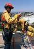 Getting ready to go over the edge.  LA County Fire Department USAR rappelling demo at Fire Service Day 2004
