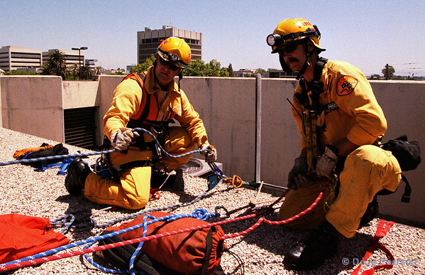 Safety is important!  LA County Fire Department USAR rappelling demo at Fire Service Day 2004