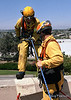 On Belay!  LA County Fire Department USAR rappelling demo at Fire Service Day 2004