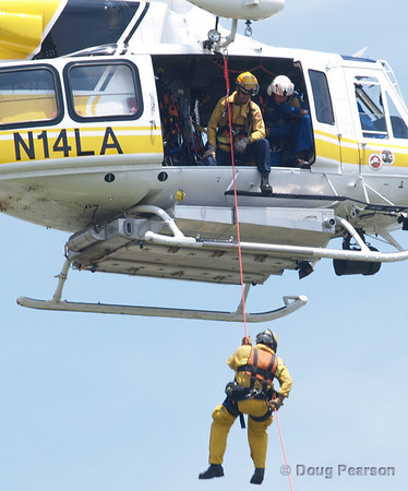 LA County Fire Department, copter 14 at Day in Norwalk<br /> USAR demo