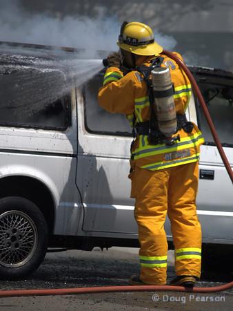 LA County Fire Department, Fire Service Day in Norwalk <br /> Car fire demo