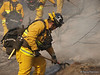 LA City Fire Department camp crew 3 works over a burned area to make sure no flying embers will start more spot fires during the Sayre Fire.