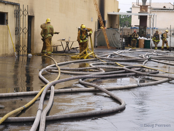 Getting ready to start cleanup after a fire.