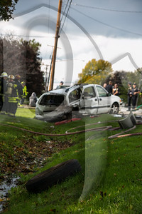 Gates firefighters responded for a multiple vehicle MVA with a baby ejected on Spencerport Rd. According to witnesses, one minivan was rear ended by another which pushed it into the oncoming lane where it was struck by a 3rd vehicle. The infant, who was strapped in a car seat, was tossed from the van. Four ambulances were requested to the scene and several patients were transported to area hospitals for unspecificed injuries. Firefighters also had to deal with a fuel leak from the white van and ensure no gasoline entered the storm sewers. A portion of Spencerport Rd. had to be closed until the vehicles were cleared from the scene.
