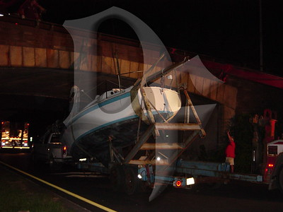 2005, September 20 - MVA, Boat vs Bridge, Lake Ontario State Parkway @ Greenleaf Rd, Lake Shore Fire District, Greece, NY (4365)