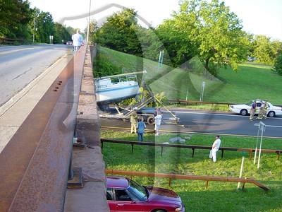 2005, September 20 - MVA, Boat vs Bridge, Lake Ontario State Parkway @ Greenleaf Rd, Lake Shore Fire District, Greece, NY (4354)