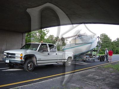 2005, September 20 - MVA, Boat vs Bridge, Lake Ontario State Parkway @ Greenleaf Rd, Lake Shore Fire District, Greece, NY (4359)