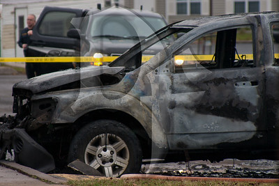The remnants of a Dodge Durango after being destroyed in a fire on White Swan Drive in Greece,  NY.  2011, December 22
