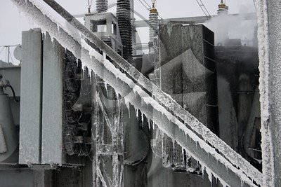 Icicles form on support structures inside the RG&E substation after Rochester Airport Firefighters used Aqueous Film Forming Foam (AFFF) to extinguish a fire in a large transformer on January 14, 2012.