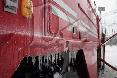 Icicles formed almost instantly on a fire truck from the Greater Rochester International Airport Fire Dept. Airport Rescue 4 responded at the request of the Henrietta Fire Dept. to the scene of a large transformer fire on January 14, 2012.