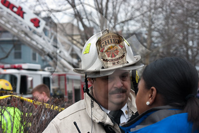 The Executive Deputy Chief of the Rochester FD briefs the media at the scene of a 2nd alarm structure fire on Dartmouth St. in the city. This house operated as a Bed & Breakfast called the Dartmouth House.