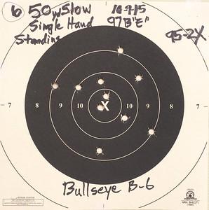 "Pistol Range 10-9-15 97""E"" 95 Slow Fire Target"