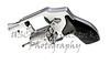 Loaded Revolver Gun on white background