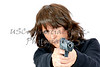 Mature Woman aiming a Gun