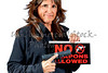 Attractive Woman holding a No Weapons Sign and a Handgun