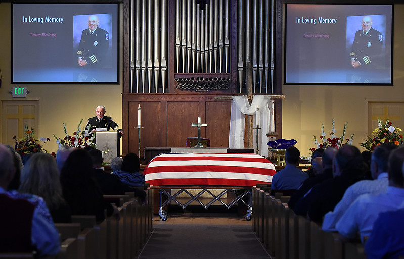 Loveland Fire Rescue Authority chief Mark Miller speaks Wednesday, April 18, 2017, during former LFRA fire marshall Tim Haag's memorial service at Zion Lutheran Church in Loveland.  (Photo by Jenny Sparks/Loveland Reporter-Herald)