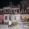 Fitchburg Firefighters throw ground ladders to the second floor and roof while others were inside searching for two persons reported trapped during the initial stages of a second Alm fire at 176 Walton St. on Feb. 10. Crews were honored by the Commonwealth for their bravery during the fire at the 27th Annual Firefighter of the Year Awards held at Mechanic's Hall in Worcester.   From left-right A/Lt. Marty Kukkula, Firefighter Kurvin Lopez, Lt. Anthony Castelli, Firefighter Patrick Haverty and Deputy Chief Dave Gravel. SENTINEL&ENTERPRISE/ Jim Marabello