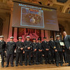 Deputy Chief Dave Gravel accepts a Group Citation for Meritorious Conduct from Massachusetts  Governor Charlie Baker on behalf of his group for actions on February 10th at 176 Walton St. during the 27th Annual Massachusetts Firefighter of the Year Awards at Mechanics Hall in Worcester. SENTINEL&ENTERPRISE/ Jim Marabello