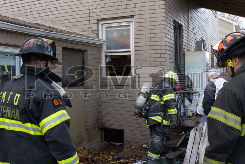 Sunday, November 27th, 2016: The East Meadow Fire Department operated at 2353 7th Street off Prospect Avenue for a small fire on the three, four corner of a private dwelling.  The fire appears to have started outside the home and was mostly knocked down before fire department arrival and before it could extend into the home.  The call was first dispatched at 14:45 hours and all fire department units were under the command of East Meadow Chief of Department John McGee [6100].  A signal ninety-eight [smoke showing] was transmitted on arrival.