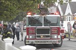 Garden City Ladder 144 on the scene of a house fire on 9th Street in Franklin Square [5-23-20].