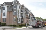 Garden City Ladder 144 on the scene of a working fire at the Meadowbrook Pointe Condo Complex in Westbury [5-19-20].