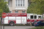 Mineola Heavy Rescue 1610 on the scene of a working fire at the Meadowbrook Pointe Condo Complex in Westbury [5-19-20].