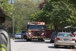 Lynbrook Engine 424 on the scene of a dumpster fire next to the house on Lenox Avenue in Lynbrook [5-21-20].