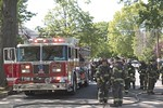 Lynbrook Engine 421 on the scene of a dumpster fire next to the house on Lenox Avenue in Lynbrook [5-21-20].