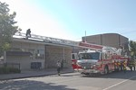 Farmingdale Ladder 926 on the scene of a reported building fire at the Farmingdale Post Office on Main Street [5-25-20].